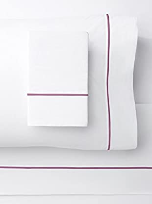Mélange Home 300 Thread Count Egyptian Cotton Percale Single Stripe Embroidered Sheet Set