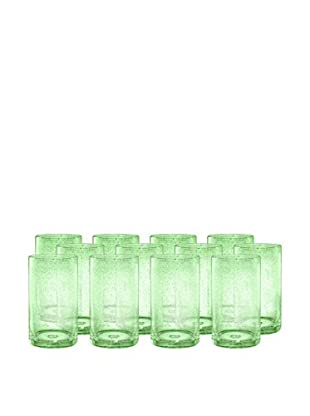 Artland Iris Set of 12 Highball Glasses, Light Green