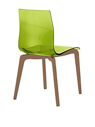 Domitalia Gel Chair, Transparent Green/Brown