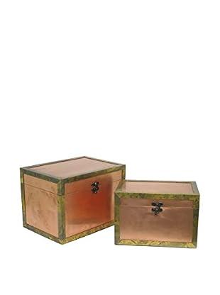 Three Hands Wood Box Set Of 2, Copper