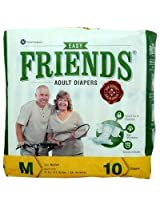 Friends Adult Diaper Basic (Medium) - Case of 12 diaper packs (120 diapers total)