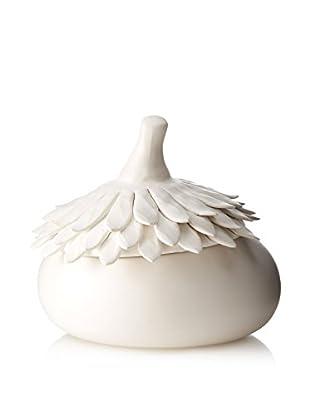 Desert Round Covered Ceramic Bowl (White)