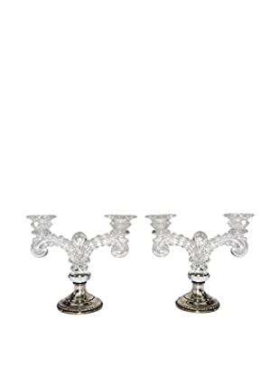 Uptown Down Previously Owned Set of 2 Glass & Metal Candleholders