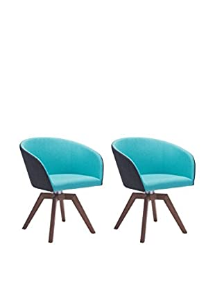 Zuo Set of 2 Wander Chairs, Blue/Gray