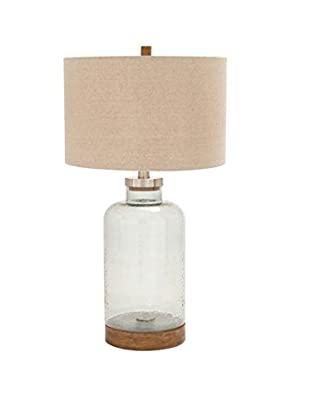 Glass Metal Table Lamp, Clear/Natural