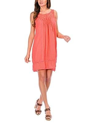 100% Lino Bleu Marine Kleid Sandy