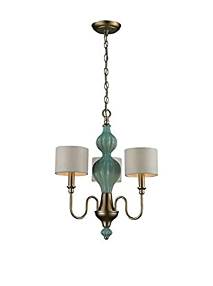 Artistic Lighting Lilliana 3-Light Chandelier, Seafoam/Aged Silver