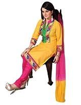 7 Colors Lifestyle Yellow Coloured Cotton Unstitched Churidar Material - ACRDR2201KI12
