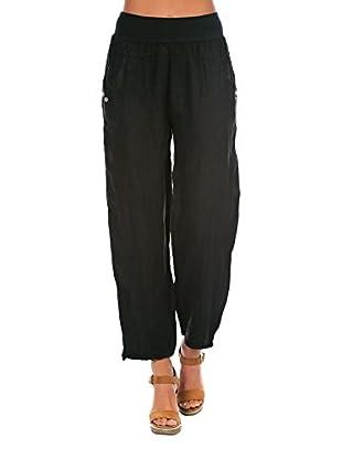 100% Lino Bleu Marine Pantalone Chloe