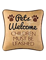 Pets Welcome Children Must Be Leashed Sayings Pillow -Home Decor