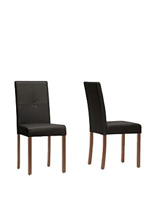 Baxton Studio Set of 2 Curtis Dining Chairs, Dark Brown