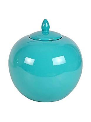 Three Hands Short & Round Ceramic Jar, Turquoise