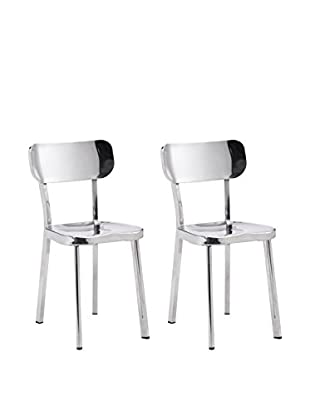 Zuo Set of 2 Winter Chairs, Polished Stainless Steel