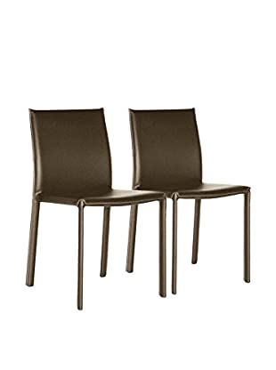 Baxton Studio Set of 2 Leather Dining Chairs, Brown