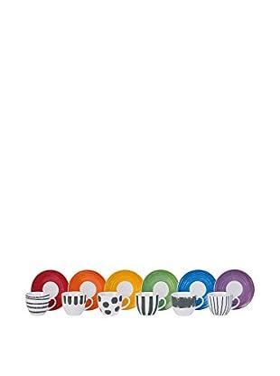 Molecuisine Kaffeetasse mit Untertasse 6er Set Style 90 cl mehrfarbig