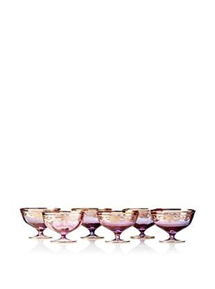 A Casa K Set of 6 Melodia Engraved Crystal Dessert Bowls, Purple/Gold