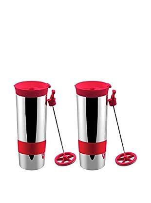 asobu Set of 2 Hot Coffee & Tea Press, Red