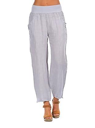 100% Lino Bleu Marine Pantalón Chloe
