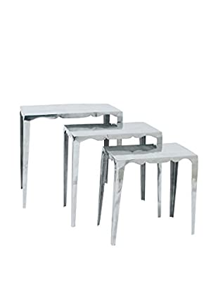 Alum Set of 3 Accent Tables, Silver
