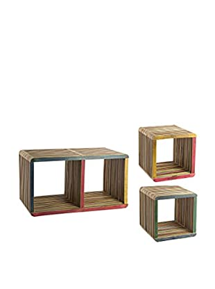 Regalbrett 3er Set Cubo Leo mehrfarbig