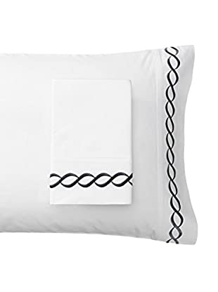 Mélange Pair of 600 TC Rope Embroidered Egyptian Cotton Pillowcases, Black, Standard