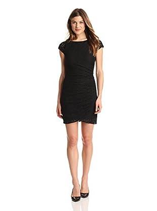 DKNYC Women's Side Drape Lace Dress (Black)