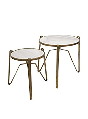 Set of 2 Marley Marble-Top Tables