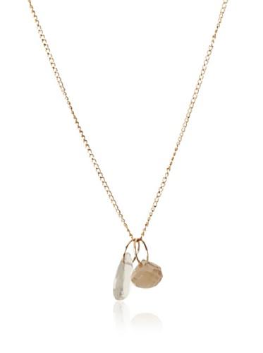 Melissa Joy Manning 14K Gold Champagne Quartz & Moonstone Pendant Necklace