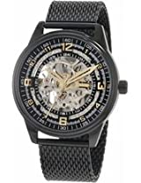 Akribos Automatic Skeleton Dial Black Ion-Plated Stainless Steel Mesh Mens Watch Ak446Bk