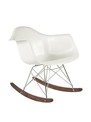 Control Brand The Mid-Century Rocking Armchair, White/Walnut
