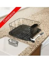 Rubbermaid Antimicrobial Sink Dish Rack Drainer Set, Black, 4-Piece Set (FG1F91MABLA)