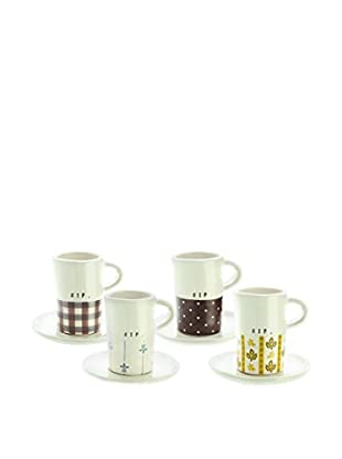 Rae Dunn by Magenta Set Of 4 Assorted Espresso Cup & Saucers with Gift Box, White