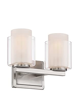 Lite Source Eliseo 2-Light Vanity Fixture, Polished Steel/Clear/Frosted