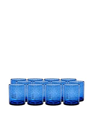 Artland Iris Set of 12 Double Old Fashioned Glasses, Cobalt
