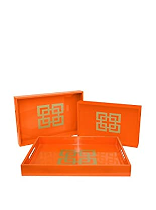 Three Hands Set of 3 Wooden Trays, Orange