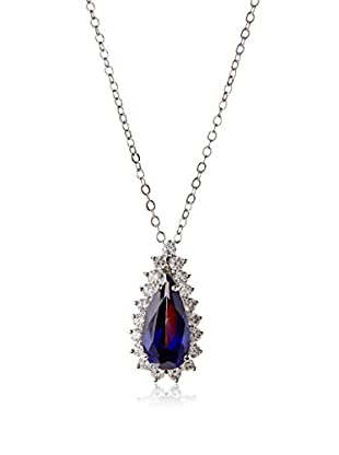 CZ by Kenneth Jay Lane Elongated Blue Pear CZ Pendant Necklace
