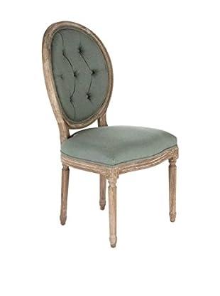 Zentique Medallion Side Chair, Sea Foam Green/Limed Grey