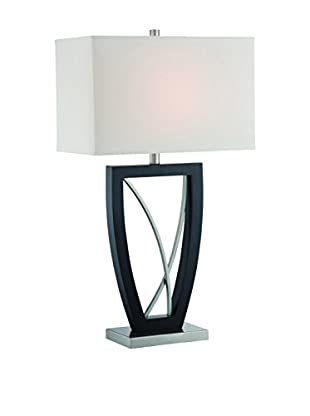 Lite Source Savino 1-Light Table Lamp, Polished Steel/Dark Walnut/White