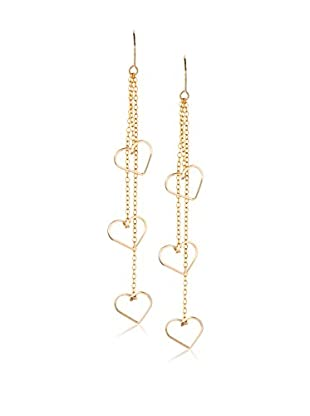 By Philippe Triple Hearts Swinging On Chains Earrings