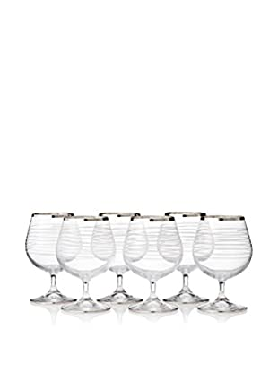 A Casa K Totem Set of 6 Hand Cut Crystal & Platinum 13-Oz. Brandy Snifters