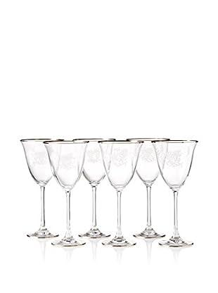 A Casa K Ricci Set of 6 Engraved Crystal & Platinum 9-Oz. Tulip Wine Goblets