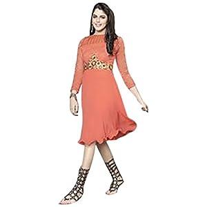 Viva N Diva Georgette Kurti - 1017 (Orange)