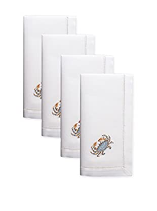 Henry Handwork Set of 4 Blue Crab Embroidered Napkins, White