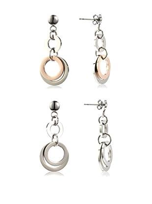 Inori Set de pendientes  Blanco / Oro Rosa