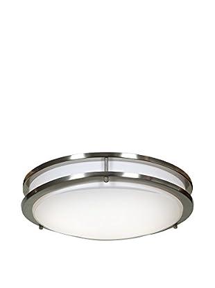 Access Lighting Solero 2-Light Flush Mount, Brushed Steel/White