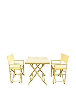 ZEW, Inc. Square Table & Director Chair Set, Nude