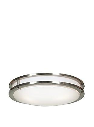 Access Lighting Solero 3-Light Flush Mount, Brushed Steel/White