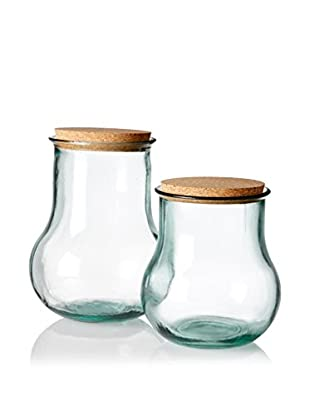 French Home Set of 2 Corked Jars, Clear