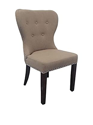 Moti Linen Brown Fabric Chair With Espresso Legs, Brown