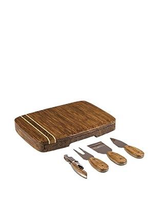 Picnic Time Verano Bamboo Cheese Board With Tools, Natural Wood